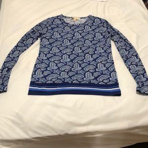 Michael kors blue paisley long sleeve top
